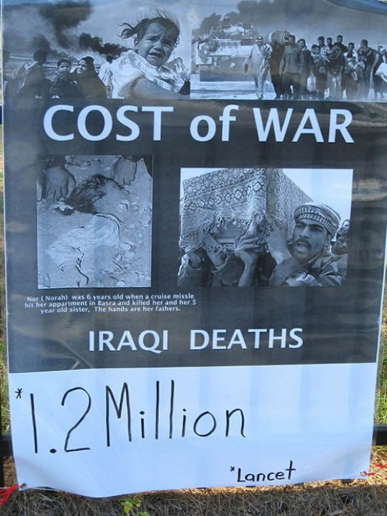 An Iraq war protest poster showing Lancet estimate of Iraqis killed