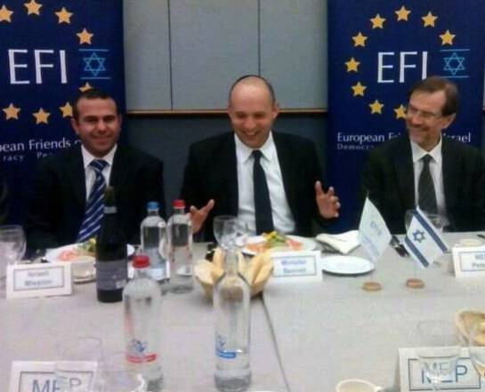 Israel Economy Minister Naftali Bennett at an EFI-organised lunch with MEPs in the EU Parliament in February 2014