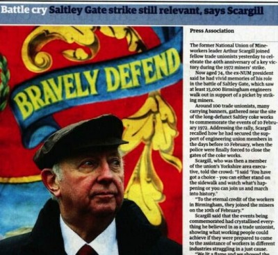 Arthur Scargill's absence from Thatcher commentary: no rewriting of the miners' strike