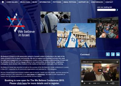 The 'We Believe In Israel' conference website